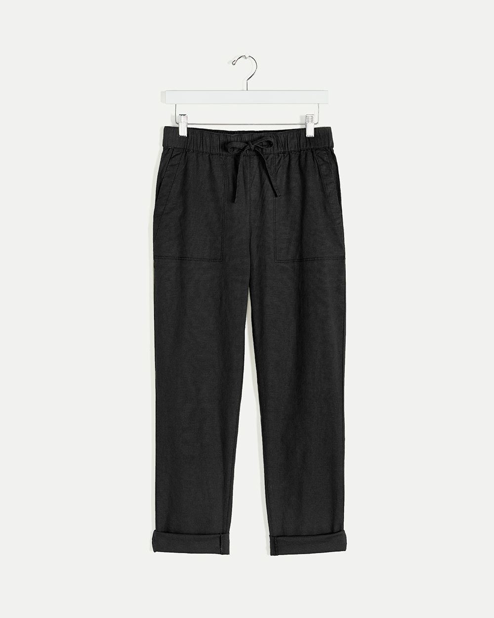 Linen-Blend Peg Leg Pull On Pants