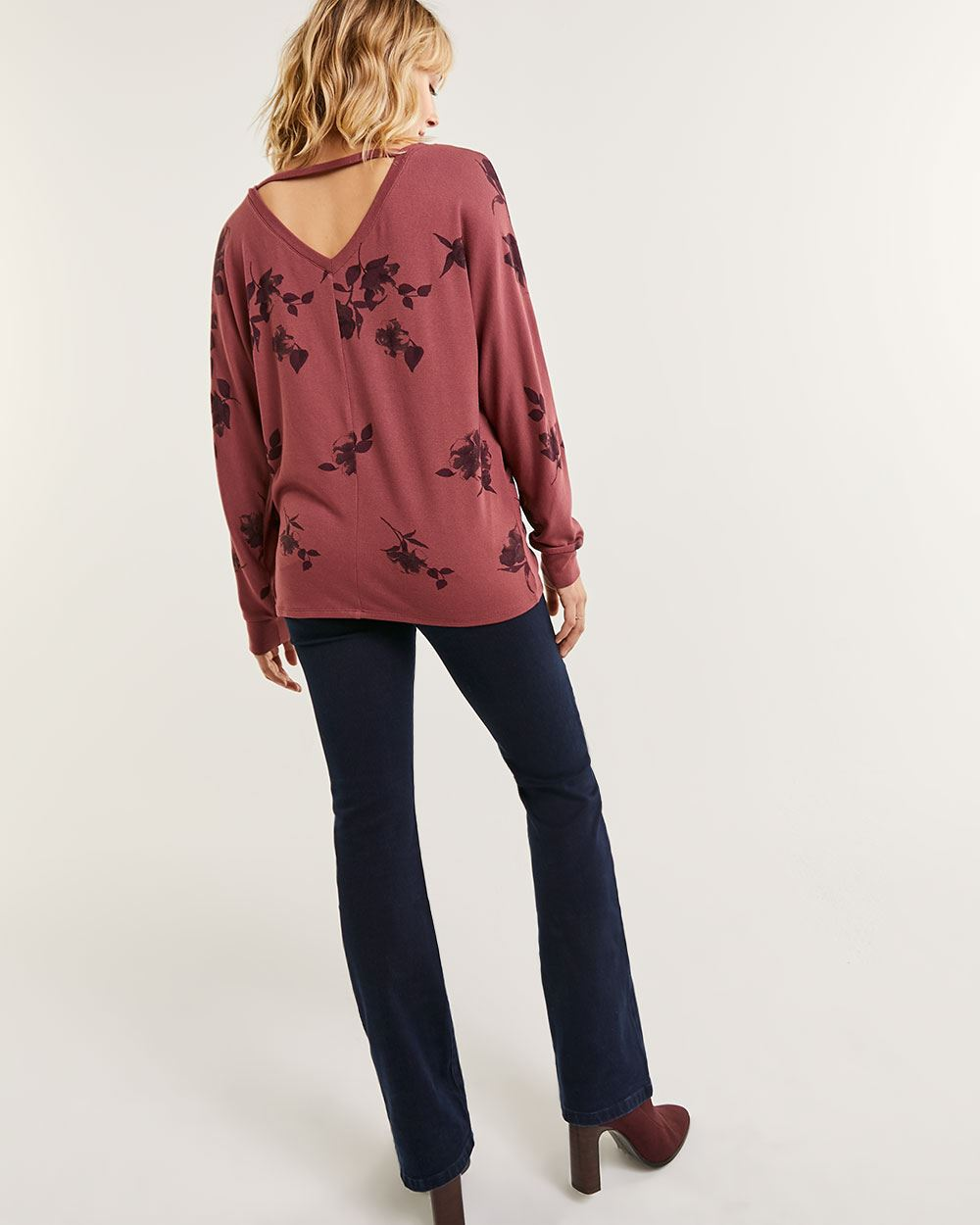 Long Dolman Sleeve V-Neck Printed Tee