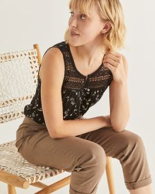 Sleeveless Printed Top with Crochet Yoke - Petite