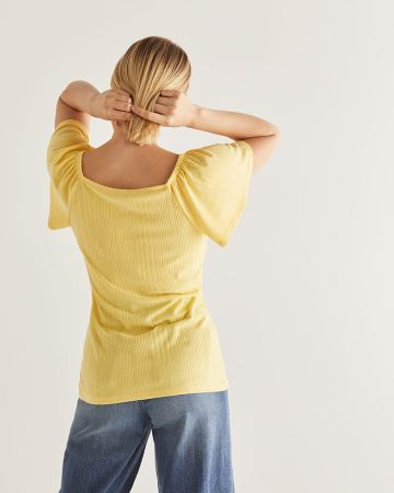Flutter Sleeve Button-Down Tee