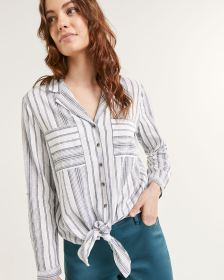 Striped Collar Blouse With Front Pockets
