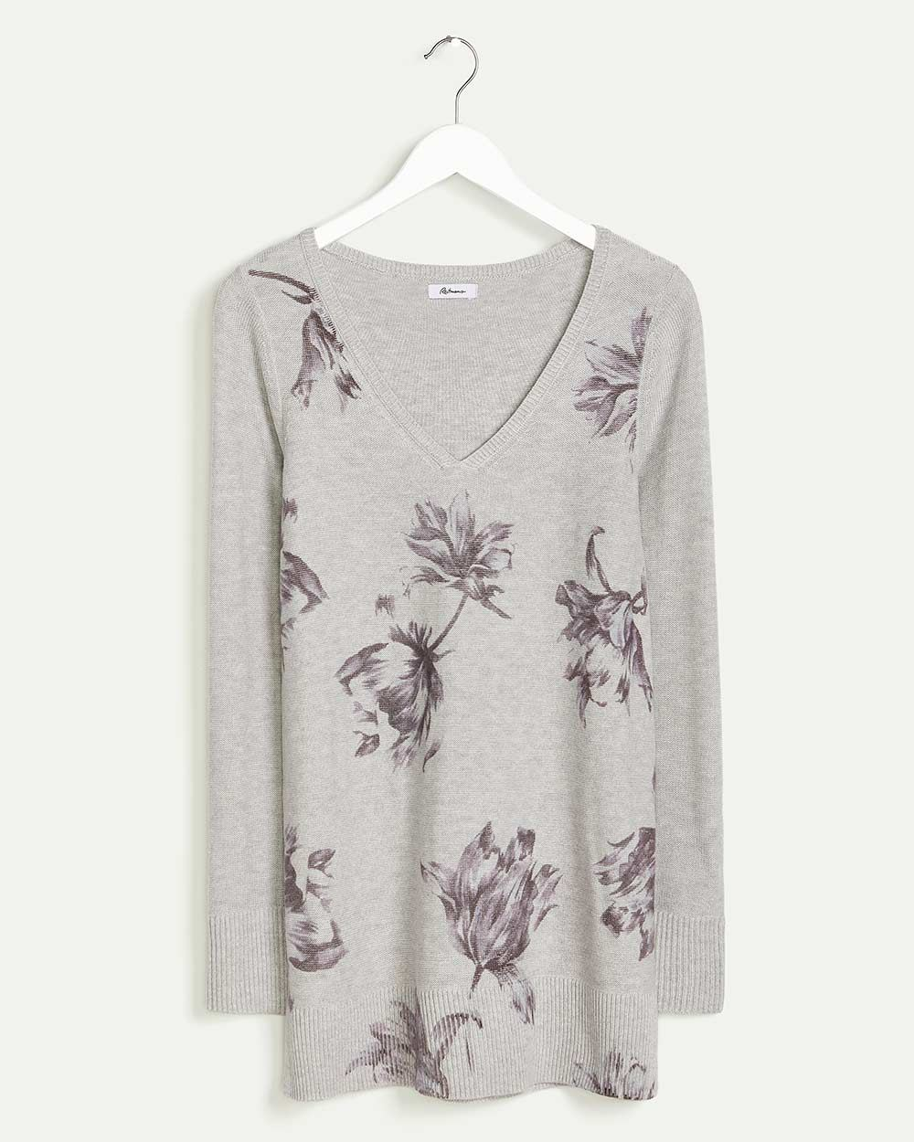 Long Sleeve Printed V-Neck Sweater