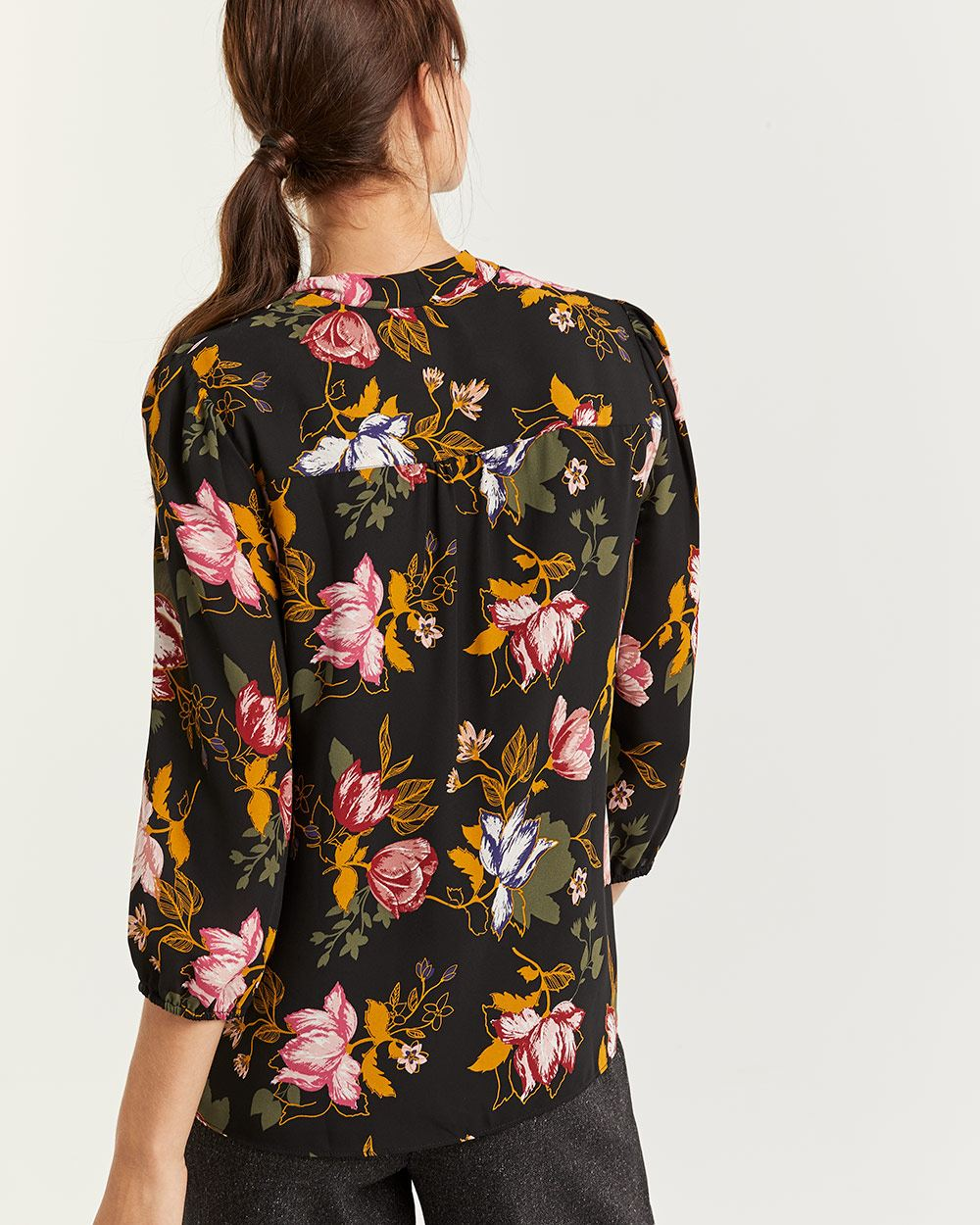 3/4 Sleeve Floral Print Blouse with Bow