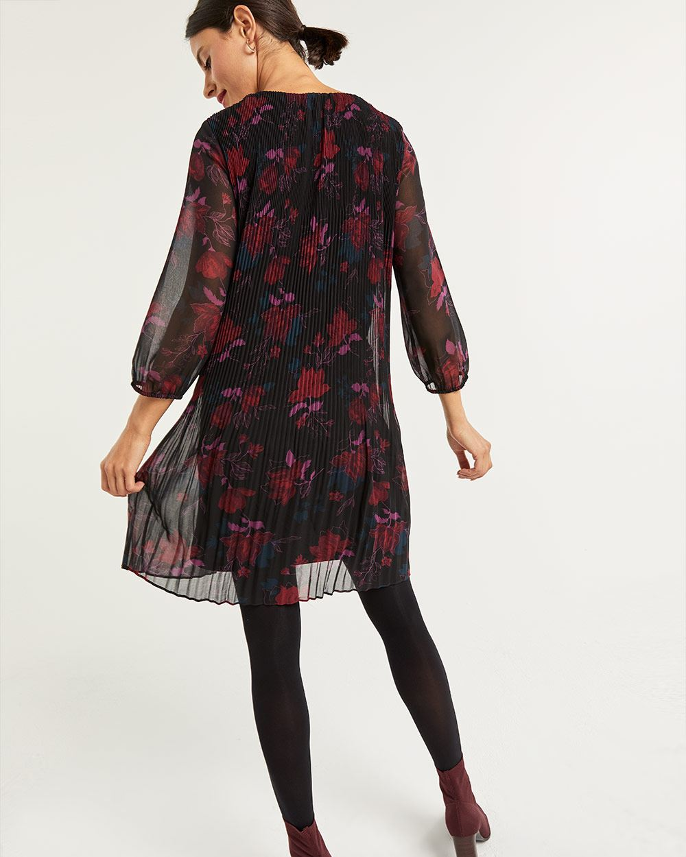 Printed Pleated Shift Dress