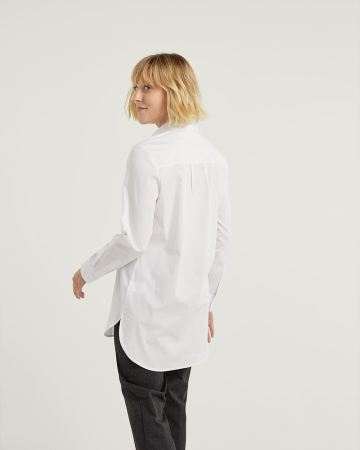 Long Sleeve Poplin High-Low Tunic - Petite