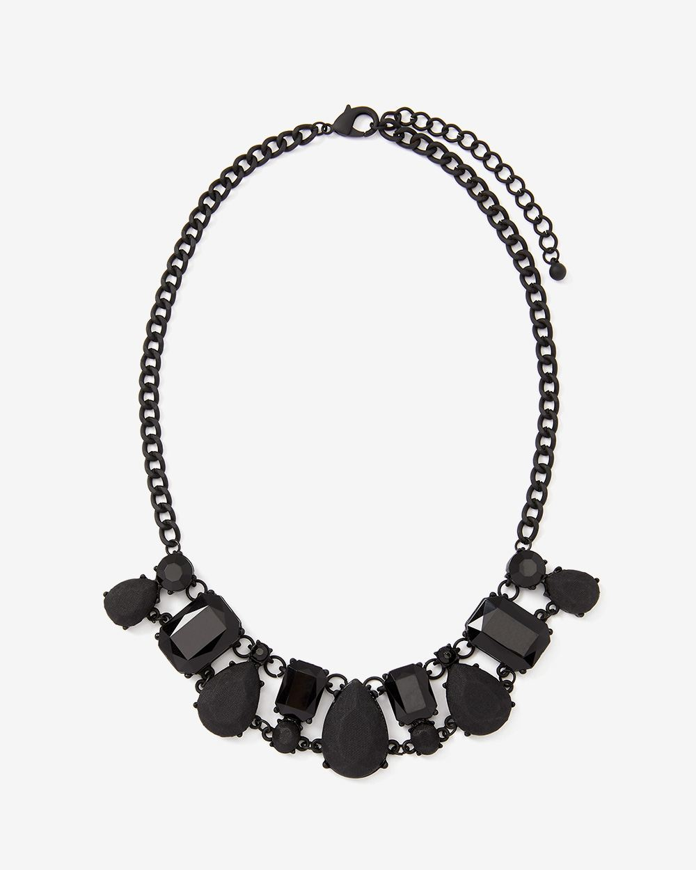 Black Faux Crystal Necklace with Matte Chain