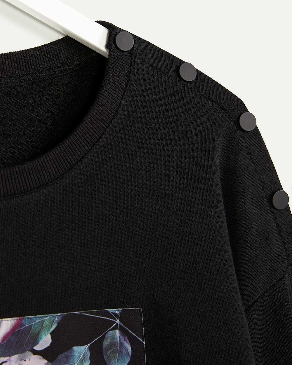 Long Sleeve Printed Sweatshirt with Snap Buttons