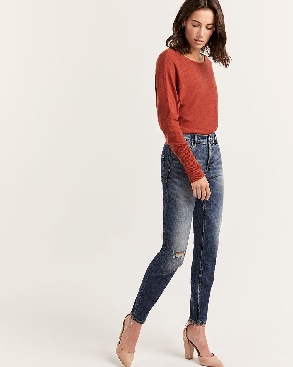 High Rise Skinny Jeans with Rips - Tall