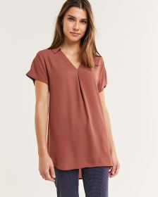Short Sleeve Tunic with Johnny Collar