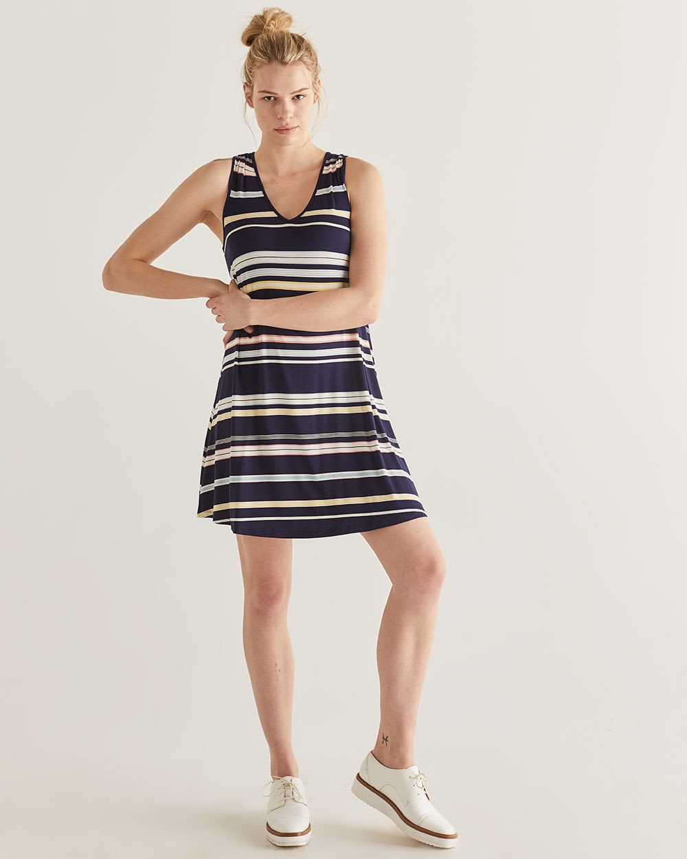 Sleeveless Striped Swing Dress