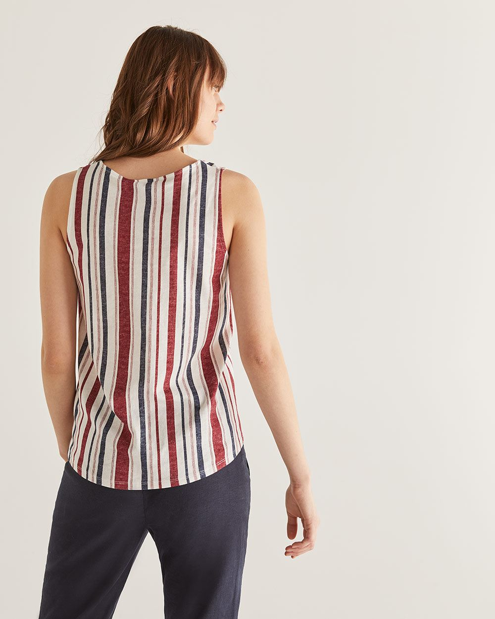 Cotton & Linen-Blend Printed Tank Top with Buttons - Petite