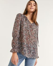 Long Balloon Sleeve Split Neck Printed Blouse