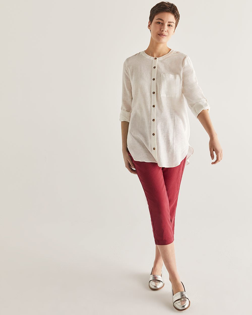 Linen-Blend Mao Collar Shirt - Petite