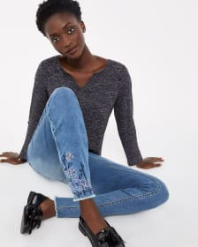 Embroidered Light Wash Skinny Jeans