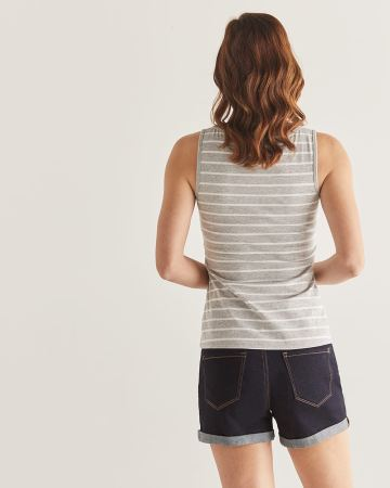 R Essential Cotton Stripe Tank Top