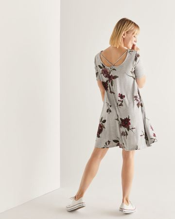 Reversible Floral Print Swing Dress