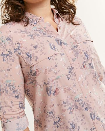 Long Sleeve Printed Blouse with Pockets