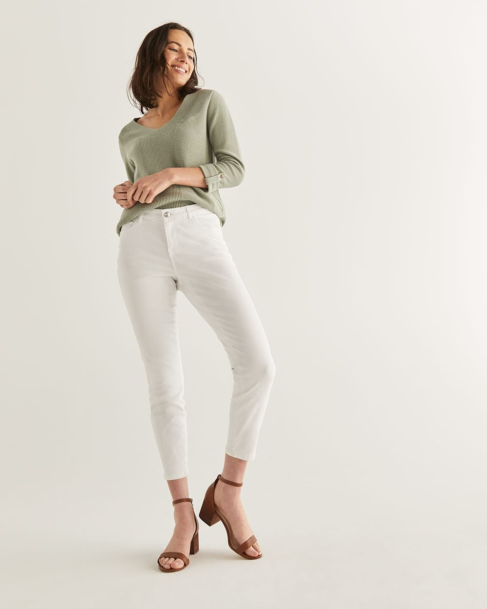 White Skinny Ankle Jeans