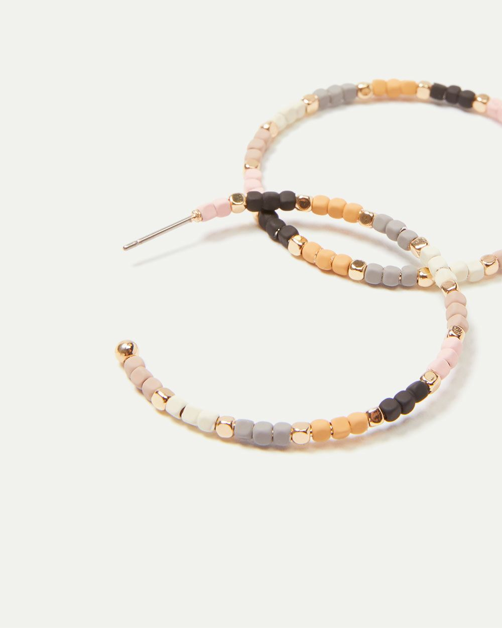 Multicoloured Bead Hoop Earrings