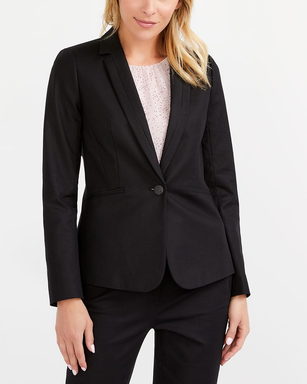 Willow & Thread Cotton Blend Solid Blazer