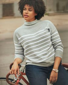 Stripe Funnel Neck Cotton Sweater