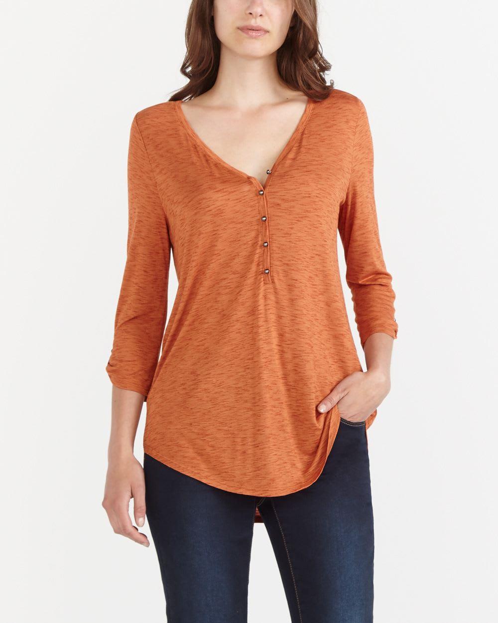 3 4 sleeve henley t shirt women reitmans for 3 4 henley shirt