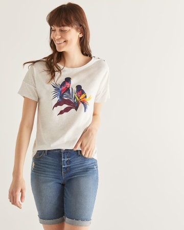 5805fe0c6c1 30% off applied. Printed Cotton-Blend Drop Shoulder Tee