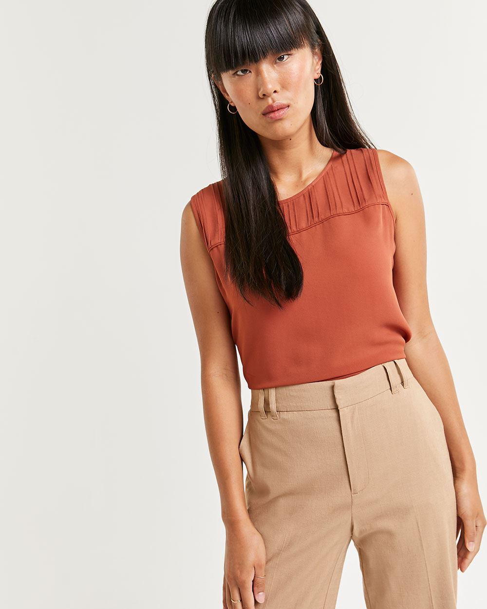 Sleeveless Blouse with Pintucks