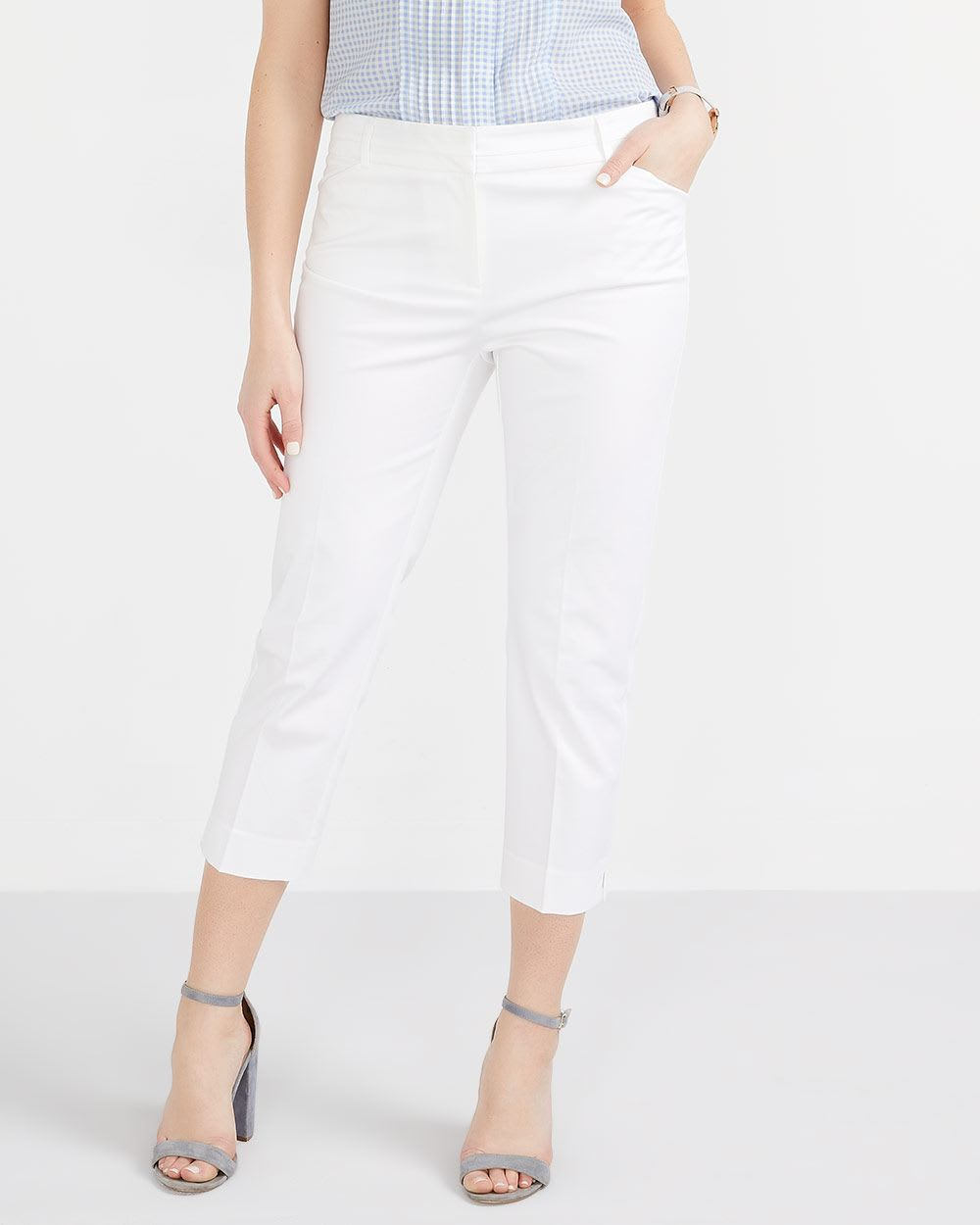 Petite Cotton Blend Solid Cropped Pants