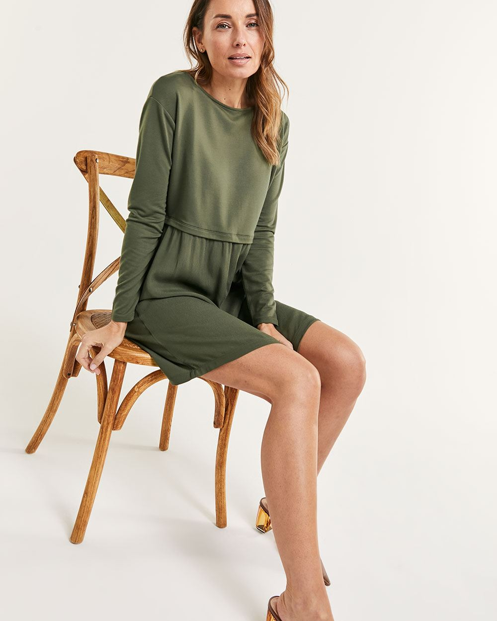 Long Sleeve Mix Media Swing Dress