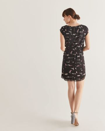 Printed Elastic Waist Dress