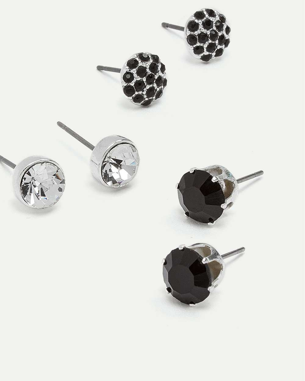 3-Pack Glass Stone Stud Earrings