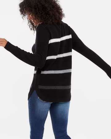 Boat Neck Striped Sweater