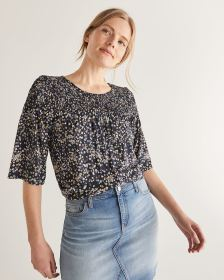 Floral Printed Smocking Top - Petite