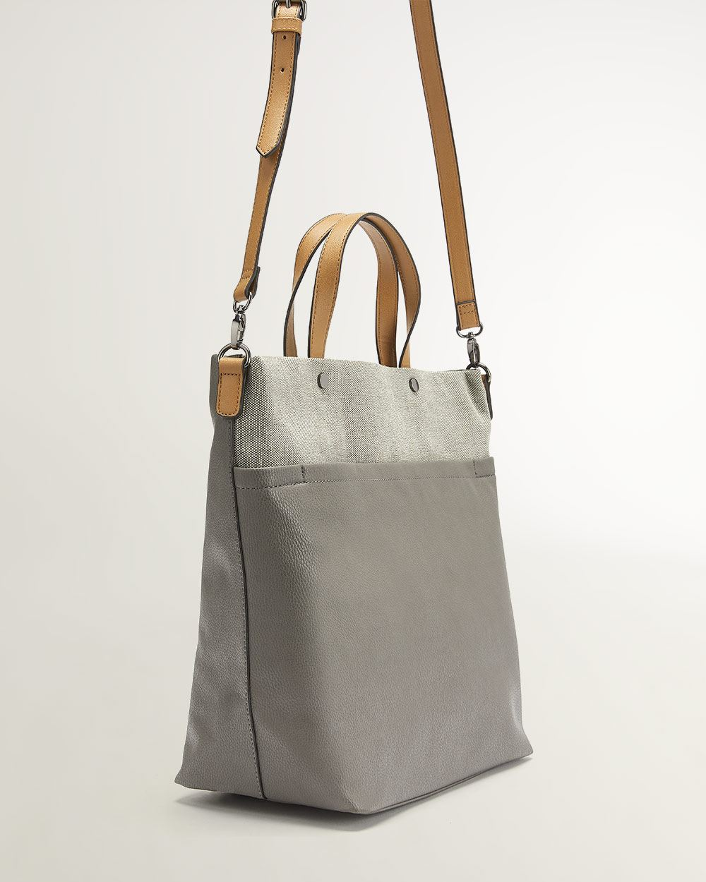 1eeced4727e Canvas and Faux Leather Tote Bag