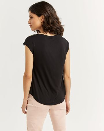 Mix Media Printed Tee with Buttons - Petite