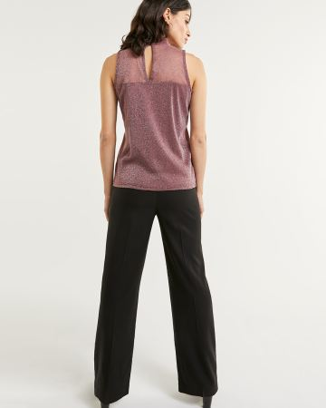 Sleeveless Mock Neck Shimmer Top
