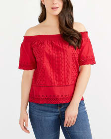Cotton Eyelet Cold-Shoulder Top