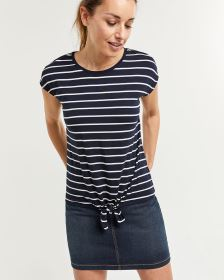 Striped Short Sleeve Tee with Front Knot
