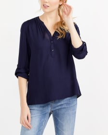 Adjustable Sleeve Solid Blouse