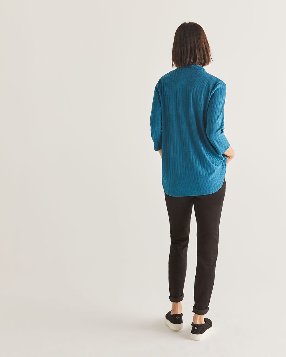 3/4 Sleeve Wrap Neckline Top