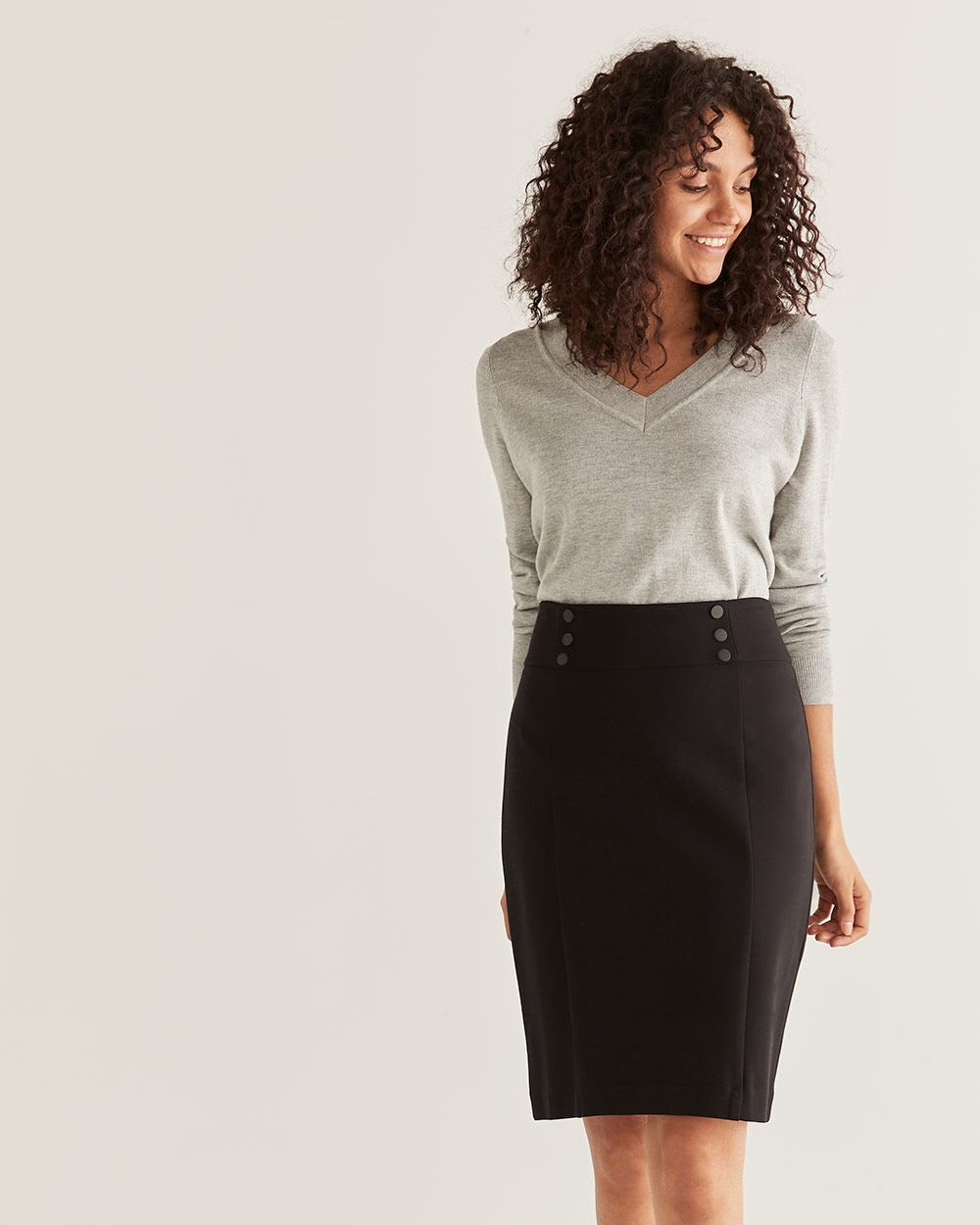 Pull On Black Pencil Skirt