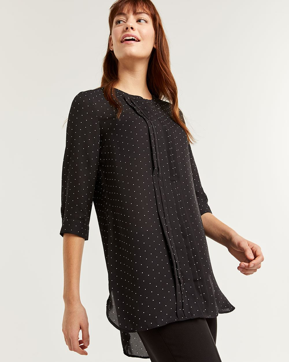 Mandarin Collar Tunic Shirt with Front Pleats