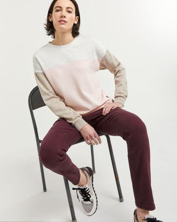 Colorblock Sweatshirt with Side Buttons