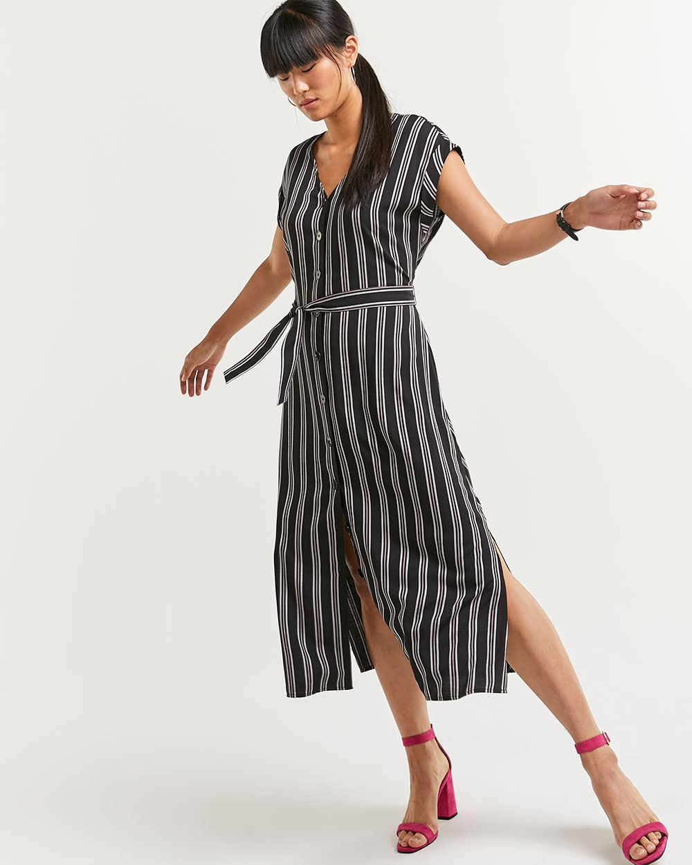 Striped Midi Dress with Sash
