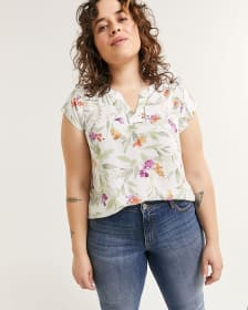 Split Neck Blouse With Fagoting