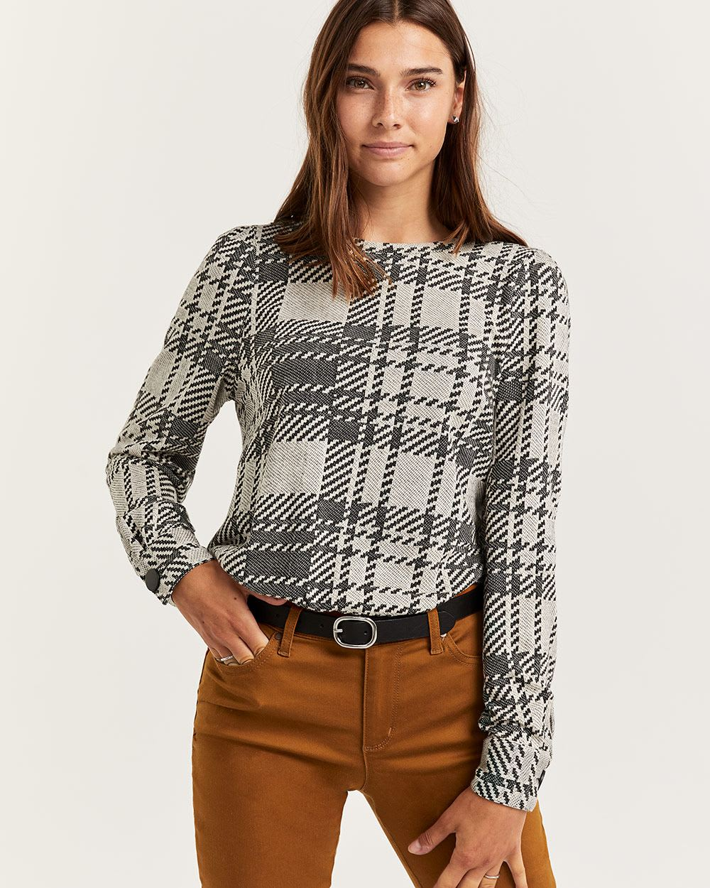Plaid Jacquard Long Sleeve Top