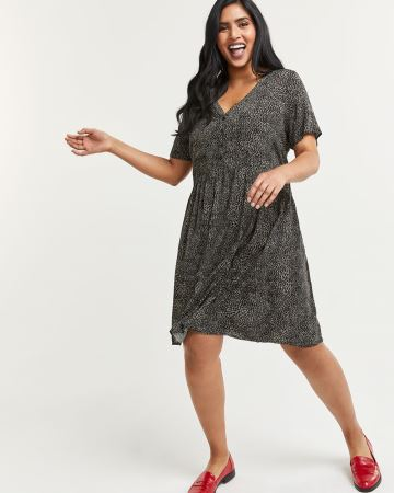 V-Neck Printed Dress with Chest Pockets