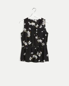 Sleeveless Printed Blouse with Sash