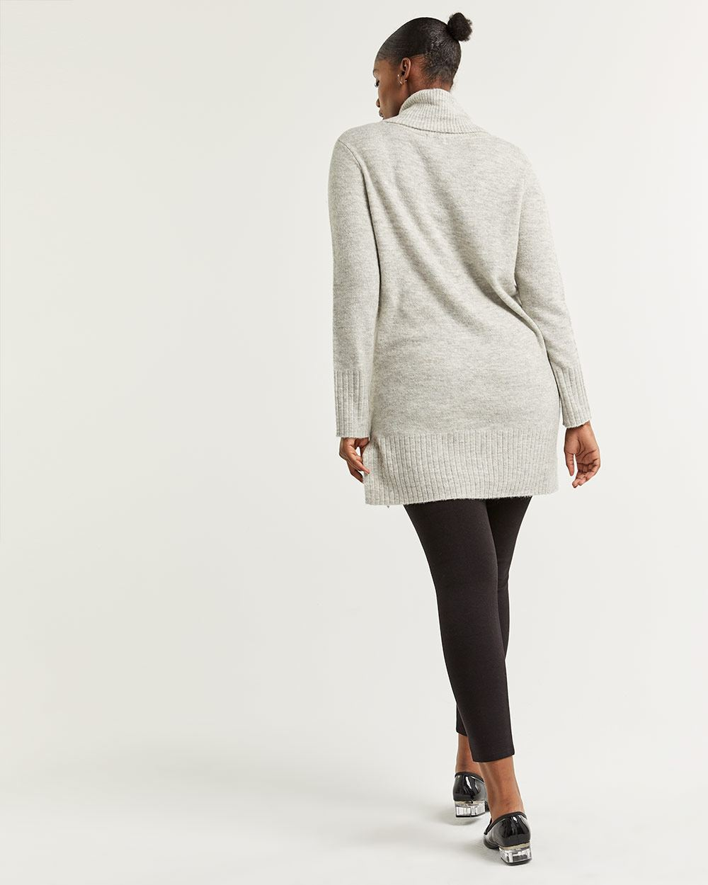 Cowl Neck Tunic Sweater with Pointelle Detail
